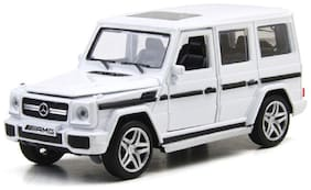 Mini Auto White 1:32 Scale Diecast Metal Mercedes Benz G65 AMG Pull Back Car Toy with Openable Doors, Light and Sound Effects