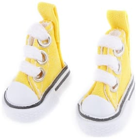 Mini Children Doll Lace-up Canvas Shoes for Doll Toy Accessories Girl Play House Gift Color:yellow Height: a pair
