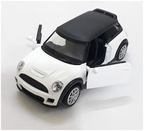 Mini Cooper Die-Cast Metal Car Toy with Openable Doors and Pull Back Action | White Color