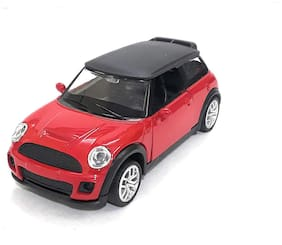 Mini Cooper Die-Cast Metal Car Toy with Openable Doors and Pull Back Action | Red Color