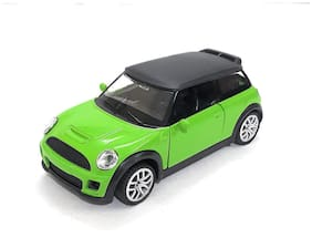 Mini Cooper Die-Cast Metal Car Toy with Openable Doors and Pull Back Action | Green Color