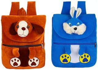MINITREES Cute Brown Dog & Blue Rabbit (Pack of 2 ) Combo Kids School/Nursery/Picnic/Carry/Travelling Bag, 2-6 Years School Bag Waterproof School Bag (Brown, Blue, White, 10 L)