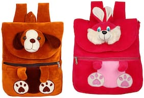 MINITREES Cute Brown Dog & Red Rabbit (Pack of 2 ) Combo Kids School/Nursery/Picnic/Carry/Travelling Bag, 2-6 Years School Bag Waterproof School Bag (Brown, Red, White, 10 L)