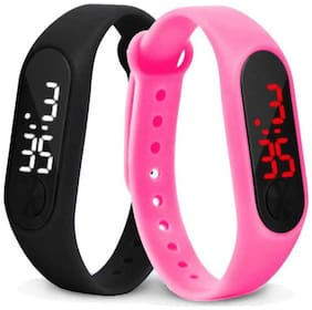 miss perfect Digital led Watch Band Type light digital band Digital Watch set of  2
