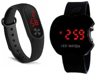 miss perfect Pack of 2 Sports Collection Black & Red Dial Digital Watch -