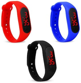 miss perfect Digital led Watch Band Type light digital band Digital Watch set of 3
