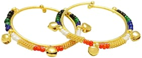 MissMister Gold covered colourful Charms beaded ghungroo adorned adjustable size free size Cuff kada Bangle Nazariya for New born baby child jewellery