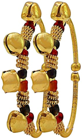 MissMister Gold plated Kids Cuff Kada Nazariya adorned with Colourful Beads ghungroo of Adjustable size for new borns