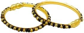 MissMister Gold covered classic black and Gold beads traditional Cuff kada Bangle Nazariya for New born baby child jewellery