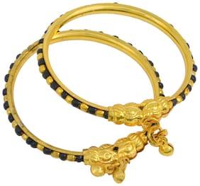 MissMister Gold Covered Classic Black and White Beads Traditional Cuff kada Bangle Nazariya Born Baby Child Jewellery