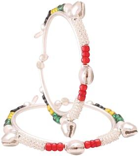 MissMister Silver plated Multi colour beaded ghungroo adorned adjustable size free size Cuff kada Bangle Nazariya for New born baby child jewellery