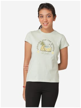 Mode by Red Tape Girl Cotton Printed T shirt - Green
