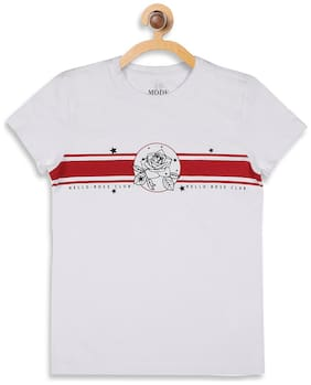 Mode by Red Tape Girl Cotton Printed T shirt - White
