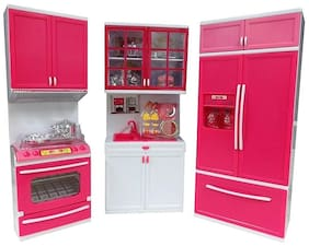 Modern Kitchen Play Set With Refrigerator Cook Top And Drawer With Light And Sound Play For Girls