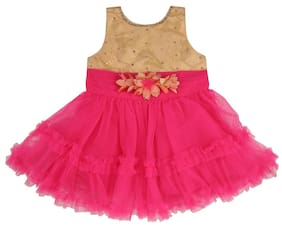 MomToBe Pink and Golden Baby Girl's Frock;1