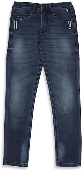 Monte Carlo Blue Solid Cotton Blend Jeans