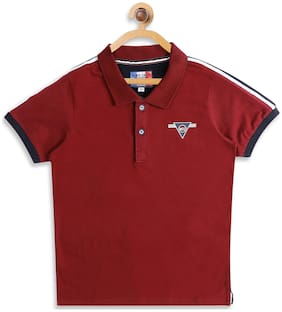 Monte Carlo Boy Cotton Solid T-shirt - Maroon