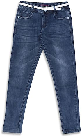 Monte Carlo Blue Solid Cotton Blend Denim