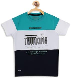 Monte Carlo Boy Cotton Striped T-shirt - Blue