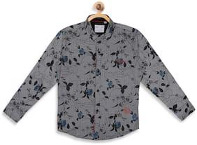Monte Carlo Boy Cotton blend Printed Shirt Grey
