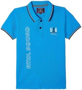 Monte Carlo Boy Cotton Printed T-shirt - Blue