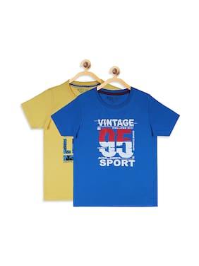 Monte Carlo Boy Cotton blend Printed T-shirt - Blue & Yellow