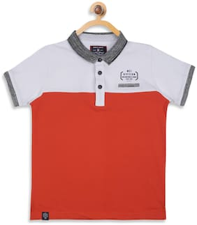 Monte Carlo Boy Cotton blend Solid T-shirt - White & Red