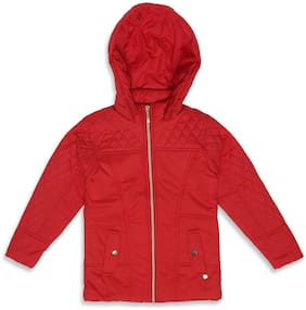 Monte Carlo Girl Polyester Solid Winter jacket - Red