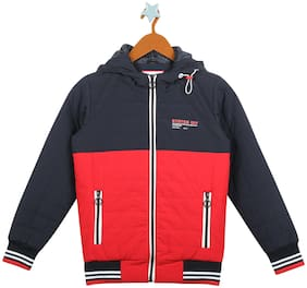 Monte Carlo Boy Cotton blend Colorblocked Winter jacket - Blue & Red