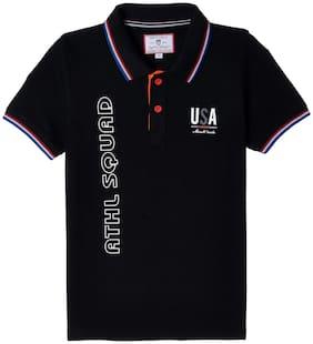 Monte Carlo Boy Cotton Printed T-shirt - Black