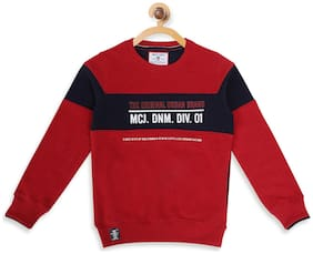 Monte Carlo Boy Cotton Printed Sweatshirt - Red