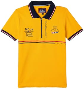 Monte Carlo Boy Cotton blend Printed T-shirt - Yellow