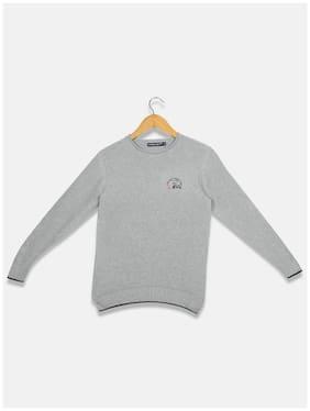 Monte Carlo Boy Cotton Solid Sweater - Grey