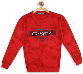 Monte Carlo Boy Cotton Printed Sweater - Red