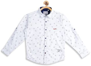 Monte Carlo Boy Cotton Printed Shirt White