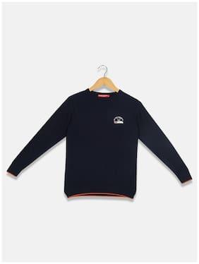Monte Carlo Boy Cotton Solid Sweater - Blue