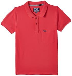 Monte Carlo Boy Cotton blend Solid T-shirt - Pink