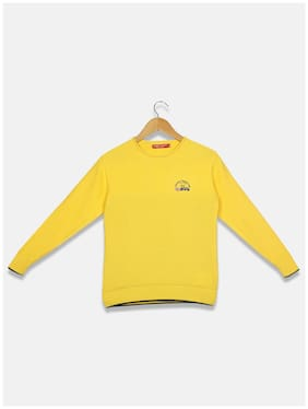 Monte Carlo Boy Cotton Solid Sweater - Yellow