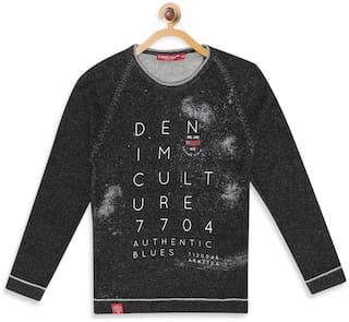 Monte Carlo Boy Cotton Printed Sweater - Black
