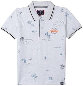 Monte Carlo Boy Cotton blend Printed T-shirt - Grey