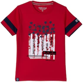 Monte Carlo Boy Cotton Printed T-shirt - Red