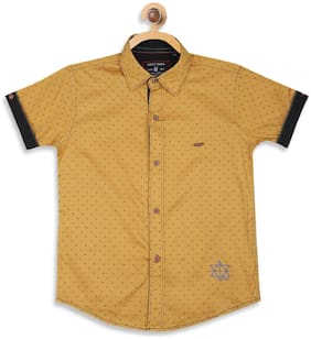 Monte Carlo Boy Cotton Printed Shirt Brown