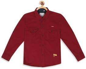 Monte Carlo Boy Cotton Solid Shirt Maroon