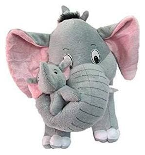Mother Elephant with Two Baby Stuffed Soft Plush Toy Love Girl