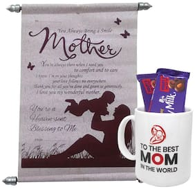 Mothers Gifts Coffee Mug, Scroll Card And Fruit & Nut Combo Pack of 3