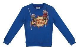 Motu Patlu Boy Cotton Solid Sweatshirt - Blue