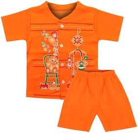 MOTUS Cotton Printed Top & Bottom Set - Orange