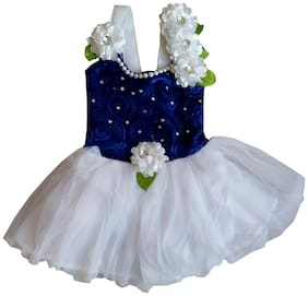 MPC Baby girl Velvet Solid Princess frock - Blue