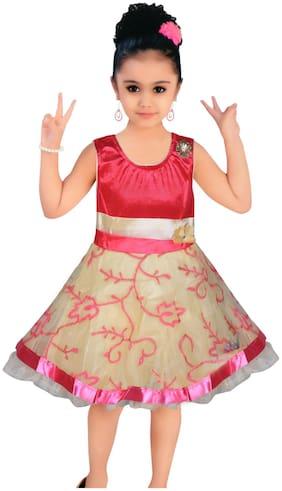 BENKILS Baby girl Velvet Solid Princess frock - Pink