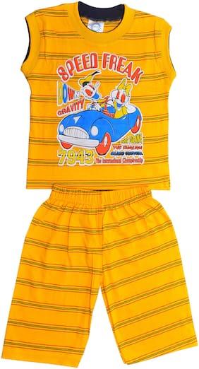 MRB Cotton Striped Top & Bottom Set - Yellow
